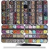 Ebanku 10 Cajas Piedras para Uñas decoración, Colorido Kit de Diamantes de Imitación de Uñas Adornos Cristales Rhinestones Diamonds Beads con...