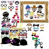 Gudotra 72 pcs Photo Booth Accessoires Kits Cravates Lunettes Chapeaux pour...