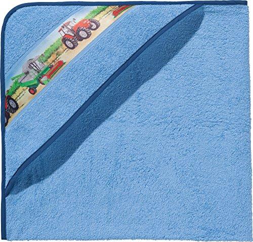 Erwin Müller Kinder-Kapuzenbadetuch, Kapuzenhandtuch Frottier hellblau Größe 140x140 cm - mit Webbordüre Traktor, Bauernhof, 100{9f1cf04710d61bcdb39c4a6794027d05421b1888cce1d8045795eb3e85da0cde} Baumwolle (weitere Größen)
