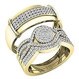 Dazzlingrock Collection 0.65 Carat (ctw) 10K Round White Diamond Men & Women's Engagement Ring Trio...