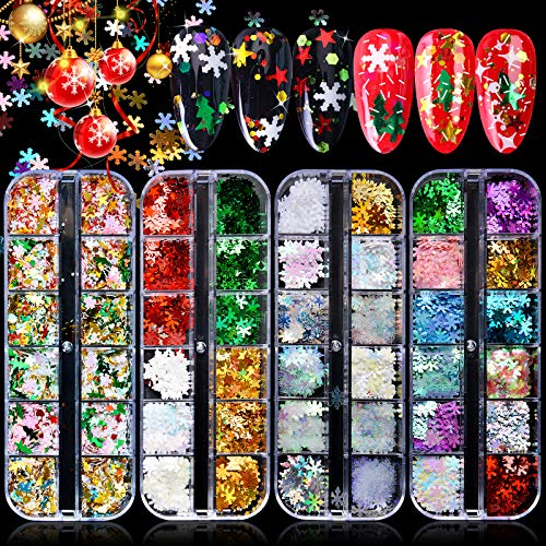 Kalolary 48 Colors Christmas Holographic Snowflake Nail Sequins, Snowflakes Tree Stars Iridescent Flake Nail Glitter Laser Sparkly Confetti Glitter DIY Nail Decoration (4 Box/48 Grids)