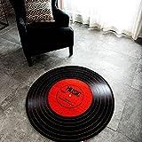 Carvapet Music Record LP Vinyl Retro Black CD Non-Slip Creative Design Round Area Rug, Red/Black, 2'7' Diameter