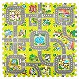 Pink Papaya Alfombra Puzzle de Ciudad – Baldosas de Espuma con Calles - 92x92 cm 9 Piezas –...