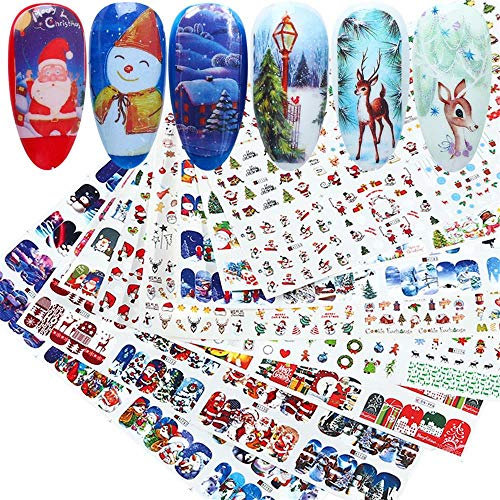 60 Pcs Christmas Nail Art Stickers,Full Water Transfer Decals Letters Merry Christmas Snowman Santa Claus Elk Winter Nail Art Sliders for Manicure Tip DIY or Nail Salon