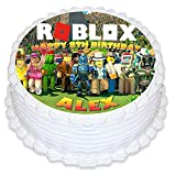Cakecery Roblox Edible Cake Topper Image Personalized Birthday Sheet Party Decoration Round