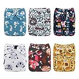 Alva Baby Nouveau design lavable en machine réutilisable poche Chiffon Lot de 6 couches couches + 12 Inserts