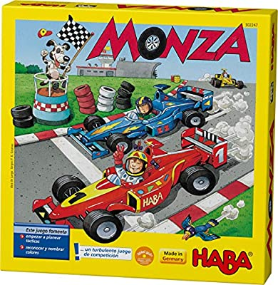 """A clever but simple children's game that combines color recognition and """"thinking ahead"""" skills. It plays in just 5-10 minutes and takes its name from the Italian city known for its Formula One Grand Prix racing circuit. Six racing cars are raring to..."""