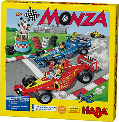 Haba 4416 - Monza, Würfelspiel und Gesellschaftsspiel, mit turbulentem Autorennen für 2-6 Kinder ab 5 Jahren, zum Farbenlernen