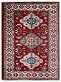 Rugsotic Carpets Hand Knotted Afghan Wool and Silk 6'x9' Area Rug Kazak Red Cream AF0116