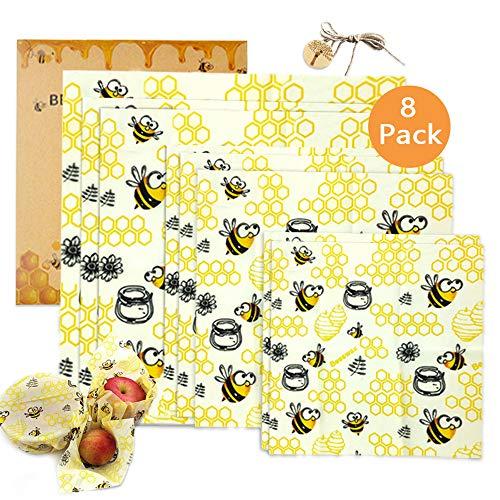 TOPSEAS Involucri di Cera d'api, Set di 8 Beeswax Wrap,Involucri di Cera D'Api Riutilizzabile,Impacchi di Cotone Biologico e stoccaggio Alimenti Variety Pack Formaggi,Frutta,Verdure