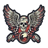 GodEagle 11'Wx10'H Skull Punk Rocker Rider Motorcycle Biker Patches Name Jacket Patches Appliqued Iron on/Sew on Embroidered Patches on Back Black Iron on Fabric