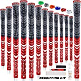 SAPLIZE Multi Compound Golf Grips, 13 Piece with Complete Regripping Kit, Standard Size, Cord Rubber, Hybrid Golf Club Grips, Red CL03S Series