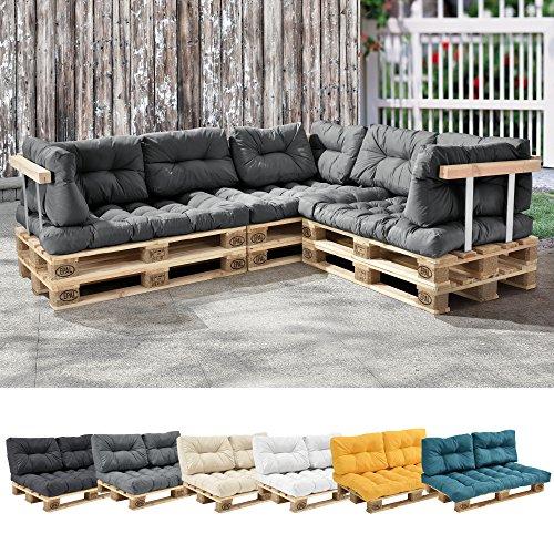 [en.casa] 1x Cuscino Sedile per Divano Paletta Euro [Grigio Chiaro] Cuscini per Palette Supporto in/Outdoor mobili Imbottiti