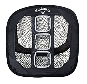 "Net Size: 25"" x 25"" - Ultra light and durable Includes 3 targets Easy set-up / take-down Compact storage (collapses to 12"" diameter) For use indoors and outdoors Ultra light and durable Great for wedge practice Use with foam balls for practice indoor..."