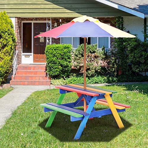 COSTWAY Set con Tavolo Picnic di Legno e ombrellone per Bambini, Tavolo e panchina con 4 posti e ombrellone Pieghevoli, Tavolo e sedie Multiuso per Esterno Giardino Cortile