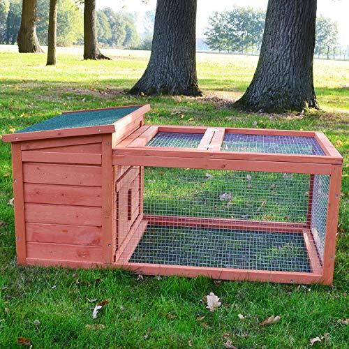 Zooprimus Kaninchenkäfig, Freigehege aus hochwertigem Holz, 110 x 65 x 51 cm, Modell 060 Freddy