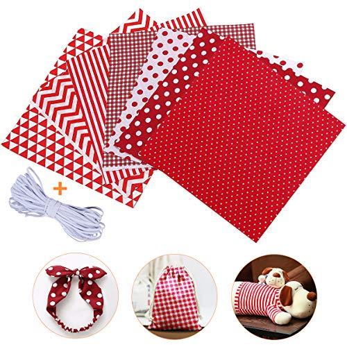Jeteven 7Pcs Baumwollstoff Meterware Stoffpakete 50 x 80cm + 4m Gummibänder, Nähstoffe Patchwork Stoffe 100{e790011edc14b97babe796fcb000262051c165ae8b976a1dab68a061d16c9bb3} Baumwolle DIY Stoff, für Puppenkleider Ärmel Haarband Handwerk (Rot)