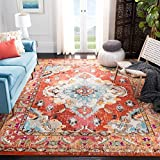 Safavieh Monaco Collection MNC243H Boho Chic Medallion Distressed Area Rug, 5' 1' x 7' 7', Orange/Light Blue