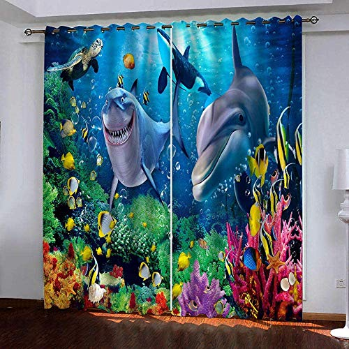 Guizhoujiufu Curtains 2 Pcs Panels Fashionable Tremendous Gentle Eyelet Blackout Curtain, Cartoon Shark Dolphin, Blackout Curtains Bed room Residing Room Youngsters's Room Preserve Heat Soundproof Drop, H245Xw340Cm2