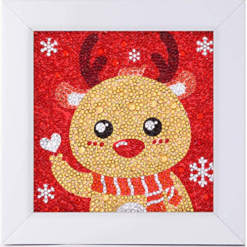 Santune Easy 5D Diamond Painting Kit for Kids, Full Drill Painting by Diamonds Kits with Wooden Frame, Arts Craft Supply for Bedside Table Decoration 6x6inches (Christmas Deer)