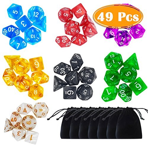 PAXCOO 7 x 7 (49 Pieces) Polyhedral Dice with Pouches for Dungeons and Dragons...