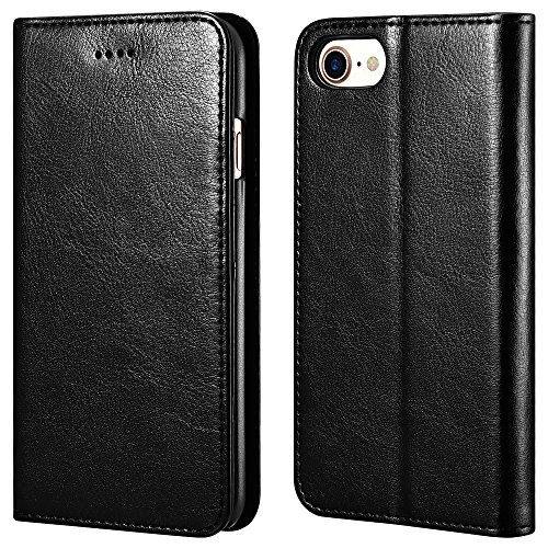 icarercase iPhone 7/8 Wallet Case, iPhone SE Case 2nd Generation Premium PU Leather Folio Flip Cover with Kickstand and Credit Slots for Apple iPhone 7/8/SE 4.7 Inch (Black) 1