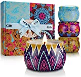 4 pcs Scented Candles Set Womens Gift, 4.4 oz Portable Ethnic Stye Tins, Made with Soy Wax and...