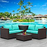 Patio PE Wicker Furniture Set 4 Pieces Outdoor Brown Rattan Sectional Conversation Sofa Chair with Storage Box Table and Turquoise Cushions