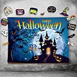 Happy Halloween Photography Backdrop and Studio Props DIY Kit. Great as Photo Booth Background, Costume Dress-up Party Supplies and Event Decorations