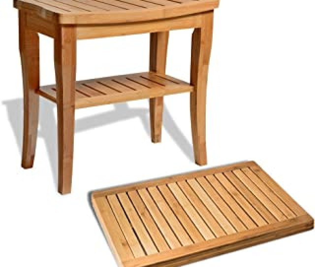 Bamboo Shower Seat Bench With Bathroom Floor Mat For Indoor And Outdoor Decor Made Of