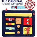Toddler Busy Board - Montessori Sensory Board for Toddlers - Develops Basic Skills and Fine Motor Skills - Learn to Dress Toys for 1 2 3 4 Year Old Kids - Learning Toy for Airplane or Car Travel