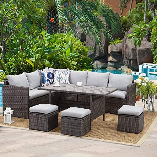 Wisteria Lane Patio Furniture Set,7 Piece Outdoor Dining Sectional...