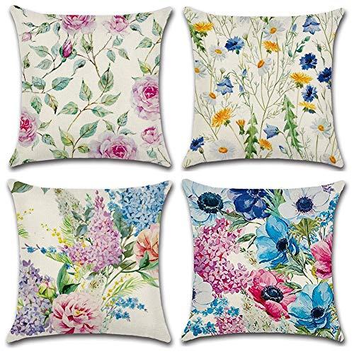 Gspirit peonia crisantemo 4 Pack Cuscini per divani Decorativo Cotone Biancheria Cuscino...