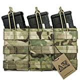 ACETAC Tactical Triple Open Top Mag Pouch Mil-Spec Nylon Magazine Holder with Adjustable Bungee Straps for Easy Carry and Use (Multicam)