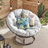 Barton Papasan Chair with Soft Tufted Cushion Pillow and Wicker Steel Stand for Indoor/Outdoor, Light Grey