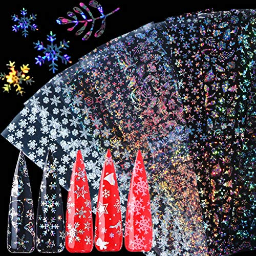 BFY Christmas Nail Foil Transfers Stickers Nail Art Supplies 10 Pcs Christmas Flash Snow Santa Claus Deer Nail Decals Tips Wraps Nail Art Accessories for Women Christmas Party Favor Nail Decor