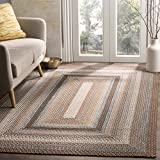 Safavieh Braided Collection BRD313A Hand Woven Brown and Multi Area Rug (5' x 8')