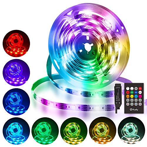 Striscia LED 3M, Hually 90 LEDs Strisce LED RGB 5050 con Telecomando RF,Sincronizza con la musica, 4 Modalit, Impermeabile USB alimentata LED Striscia per Decorazioni, Cucina, Festa, Natale, Bar ecc