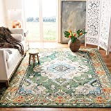 Safavieh Monaco Collection MNC243F Bohemian Chic Medallion Distressed Area Rug, 5' 1' x 7' 7', Forest Green/Light Blue