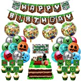Pixel Style Birthday Party Supplies, Game Party Include Pixel Game Happy Birthday Banner, Cake Toppers, Balloons and Ribbon, for Minecraft Theme Party Favors Decoration