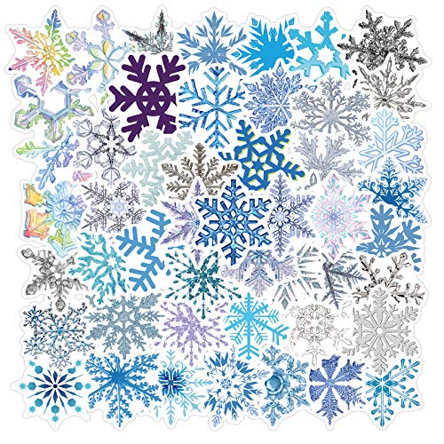 Nertpow Snowflake Stickers Winter Christmas Stickers Decal 50 Pack