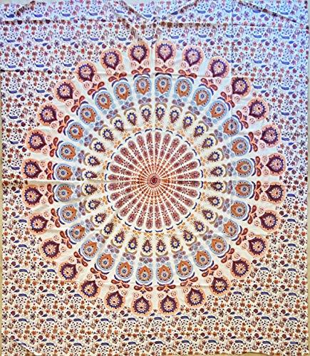 etnico Telo arredo Disegno Mandala Sfondo Bianco 210 x 220 cm Circa Hippie Om Indiano Made in India...