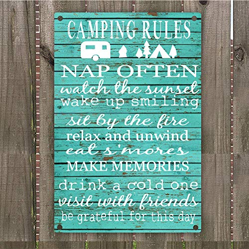 "Camping Rules Vintage Retro Metal Sign Wall Art 8"" x 12"",..."