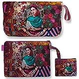 Bolso Aseo/Neceser Maquillaje Viaje/Set 3 Piezas Neceseres, sobre Cartera y Monedero de Mujer Frida Kahlo. (Granate)