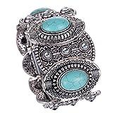 Yazilind cru Bracelet Tibetain Argent Turquoise Inlay Oval Gothiques Femmes Large