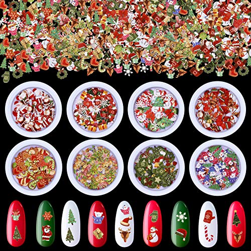 8 Boxes 3D Christmas Nail Art Decals Sticker Xmas Sequins Santa Snow Nail Flakes Wood Pulp Chips Snowman Tree Christmas Elk Designs Slice for Nail Face Body Decoration DIY Crafting