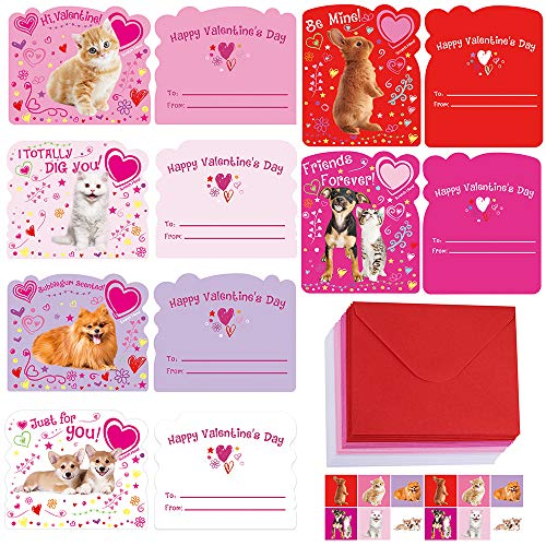 30 Sets Valentine's Day Cards Pet Dog Cat Rabbit Greeting Cards Scratch & Sniff Valentine Cards with Envelopes Stickers for Kids Boy Girl Brithday Party Favors Valentine School Classroom Gift Exchange