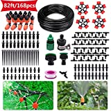HANSILK Drip Irrigation Kit 82ft/25m DIY Adjustable Micro Automatic Irrigation System for Garden Flower Beds Saving Water and Time 1/4-inch Blank Distribution Plant Tubing Hose 2 Sprinkler Types