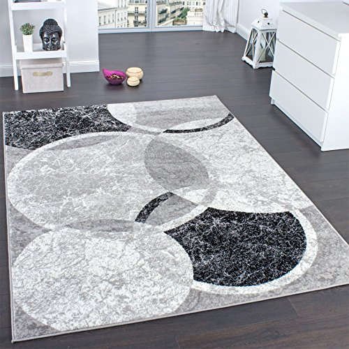 Paco Home Tappeto di Design per Salotto Motivo A Cerchio Grigio Crema Prezzo Eccezionale, Dimensione:190x280 cm