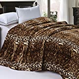 Home Soft Things Soft and Thick Faux Fur Sherpa Backing Bed Blanket, Queen (84' x 92'), ML Leopard